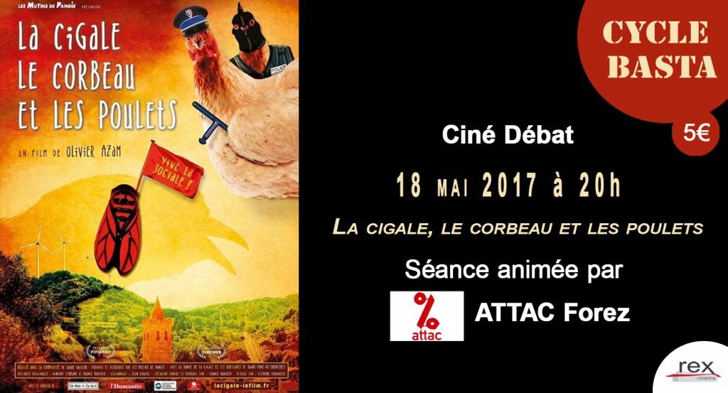 CARTON Cine Basta La cigale le corbeau et les poulets 18 mai